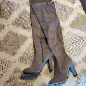 Wild Diva Stretchy Tie up thigh high Chunky boots
